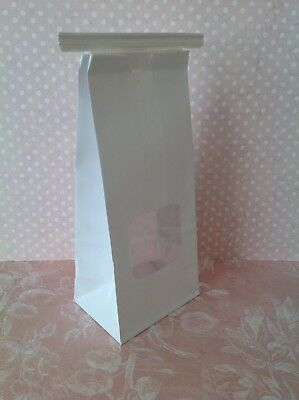20 White Cookie Cake Sweets Food Party Block Bottom Paper Bags with Windows/ties