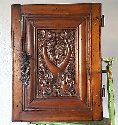 CABINET PANEL DOOR ANTIQUE FRENCH CARVED WOOD SALVAGED CHATEAU FURNITURE 18 th c