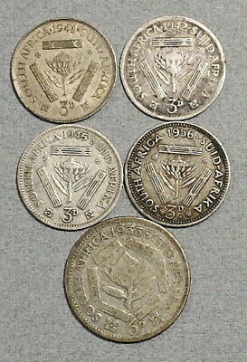 SOUTH AFRICA Three Pence, Sixpence 1933-1956 - Lot of 5 Silver British Coins NR!