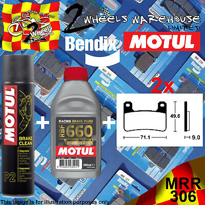 2x BENDIX 306-MRR & RBF660 & P2 BRAKE PADS FLUID CLEAN FITS MOTORCYCLES LISTED