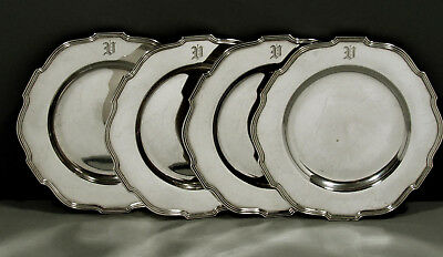 """Gorham Sterling Silver Plates  (4)     1942            """" CHIPPENDALE STYLE """""""