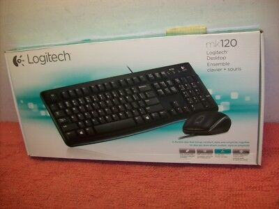 Brand New! Logitech MK120 Keyboard & Mouse - 1000 dpi - Scroll Wheel - Wired