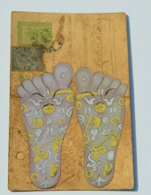 old Rajasthan miniature handmade painting Indian postcard of reflexology feet 84