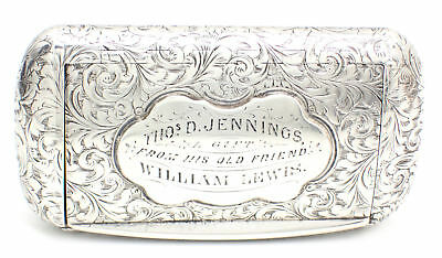 RARE Antique Sterling Silver Snuff Box by Neill & Cook, Birmingham 1859
