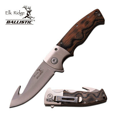 ELK RIDGE Spring Assisted Folding Pocket Knife With Black Wood Handle Gut Hook