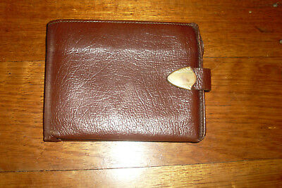 Vintage Retro Deco Style Brown Leather Buffalo Calfskin Gents Wallet