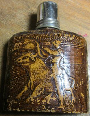 Embossed Tooled Leather over Antique Glass Flask Bullfighter 4 oz