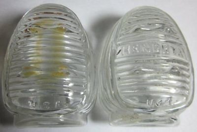 Pair Vintage Hendrix USA Clear Glass Bird Cage Feeder