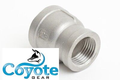 """304 SS 1-1/2"""" x 1/4"""" Female NPT Pipe Thread Reducing Reducer Coupling Stainless"""