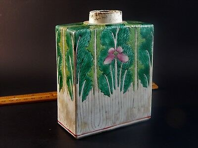 Antique Chinese Ching Bok Choy Famille Rose Cabbage Leaf Pattern Tea Caddy