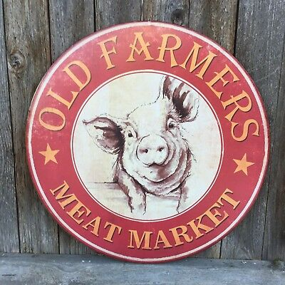 Large OLD FARMERS MEAT MARKET Pig Butcher BBQ Grill Patio Kitchen METAL SIGN