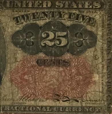 """1874 US Fractional Currency """"TWENTY FIVE CENTS"""" Rough! Old Currency"""