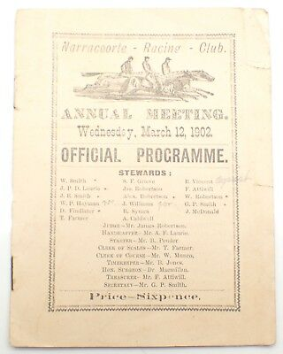 Rare 1902 Narracoorte Racing Club Annual Meeting Official Programme