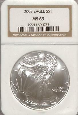 2005 American Silver Eagle   NGC MS69   .999 Silver 1oz   ASE   NR (RC4324)