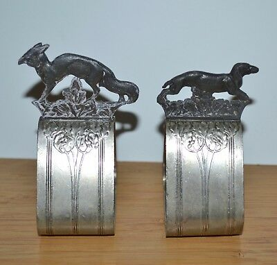 Vintage WMF 1/0 0X Fox Hunt Hound Silver Plated Triangle Napkin Ring Holder Pair