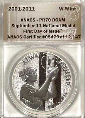 2001-11 September 11 National Medal | ​ANACS PF70 | First Day of Issue (RC5078)