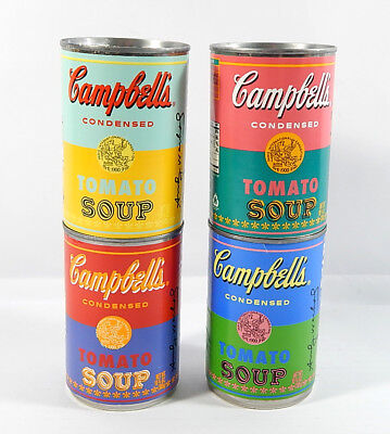 Lot of (4) Campbell's Andy Warhol 50th Anniversary Tomato Soup Cans Full
