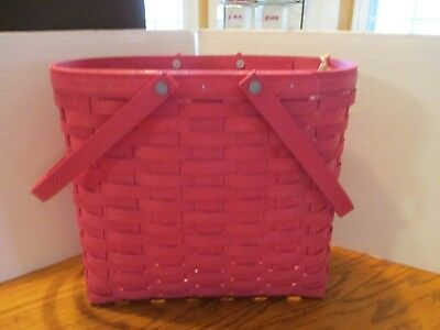 Longaberger Brightly Colored Pink Tote Basket - NEW