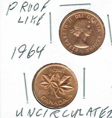 1964 Canadian Uncirculated  & Proof Like One Cent 2 Coins!