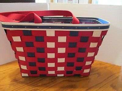 Longaberger Red, White & Blue Tote - Wood and Fabric Strap Like Weave