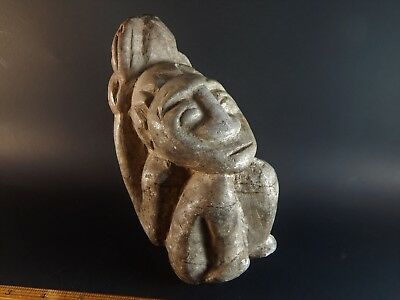 "Tribal Ethnic African Central American Pre-Columbian Carved Stone Figure 7"" High"