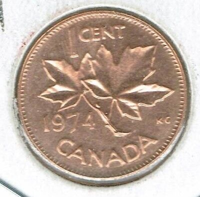 1974 Canadian Uncirculated  Proof-Like One Cent Elizabeth II Coin!