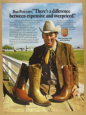 1974 Dan Post Cowboy Boots 3 Styles color photo vintage print Ad