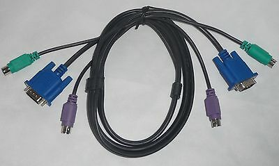 1.4m KVM Cable ~ New Black ~ Keyboard&Mouse PS/2, Video VGA - MALE To MALE plugs