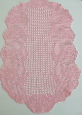 Large Pretty Pink Hand Crocheted Table Centre Worked in a Filet Pattern