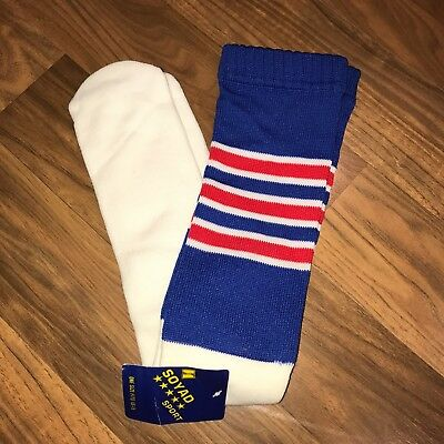 NWT Vtg 70s 80s Knee high TUBE SOCKS Blue Red White STRIPED Athletic Calf NEW