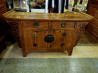 Antique Provincial Chinese Late 19th C Early 20th C Carved Elm Sideboard