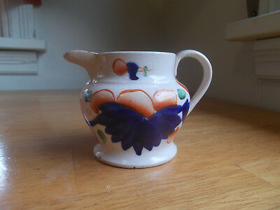 """1830s ORIGINAL GAUDY WELSH HAND PAINTED CREAMER PITCHER 3""""TALL REAL NICE!"""