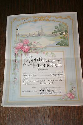 Antique 1946 Certificate of Promotion Beginners to Primary Church of God