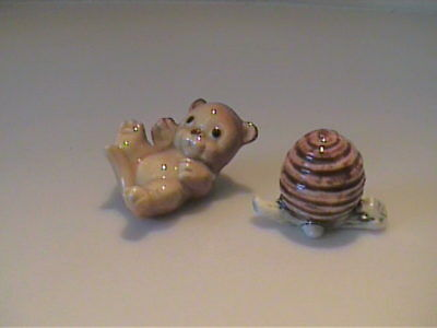 Vintage Miniature 1960's Bone China Brown Bear Cub On Back With Bee Hive