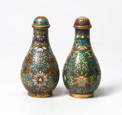 A Very Fine Pair Of Antique Chinese Cloisonne On Bronze Snuff Bottles