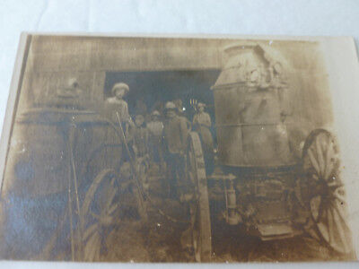 Real Photo Vintage Postcard of Farmers With Boilers On Wheeled Carts (Unposted)