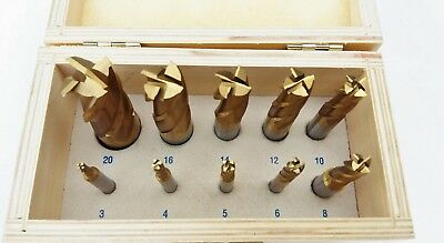 10 piece 4flute End Mill Set TiN Coated - Metric 3-20mm