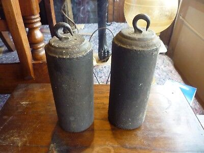 Pair Good Original 19th Century Iron 8 Day Longcase Weights 12lb And 13lb