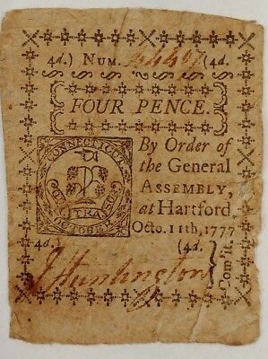 Connecticut Colonial Currency 1777 4 Pence