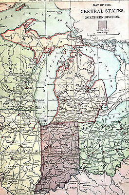 Antique Map of CENTRAL STATES - IL WI OH IN - 1883 Matted - Exc. Cond