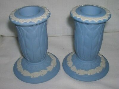 Lovely Wedgwood pair of blue jasper ware 3.5 inch high candle holders