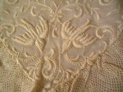 Antique Cream Embroidered Doves  Childs Doll Communion Christening Lace Collar