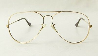 VINTAGE 80s B&L RAY BAN USA GOLD LARGE AVIATOR SUNGLASSES EYEGLASSES FRAME 62 BL