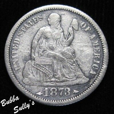 1873 With Arrows Seated Liberty Dime <> F Details