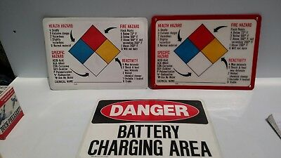 3 HAZMAT AND CHARGING STATION HAZARDOUS SIGNS w/ OPTIONAL INFORMATION LABELS