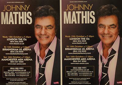 2 X Johnny Mathis Tour Flyers - Brand New