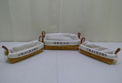 Woven Wood Fabric Covered Bread and Crackers Baskets w/ Handles Lot of 3