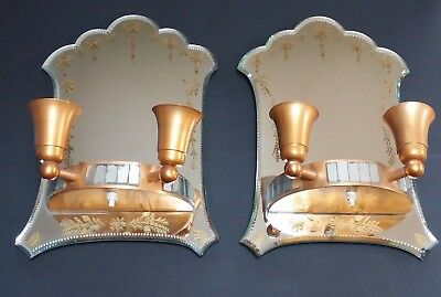 Pair Antique Vtg French Hollywood Regency Art Deco Era Mirror Wall Sconce Lamps