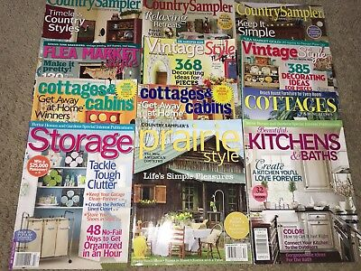 LOT OF 12 Decorating MAGAZINES COUNTRY FLEA MARKET COTTAGE CABIN VINTAGE STYLE