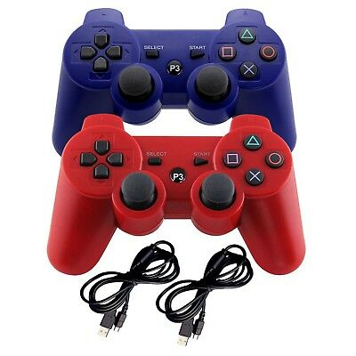 2 Playstation 3 Wireless Gaming Controllers Blue & Red Bluetooth Gamepad Game...